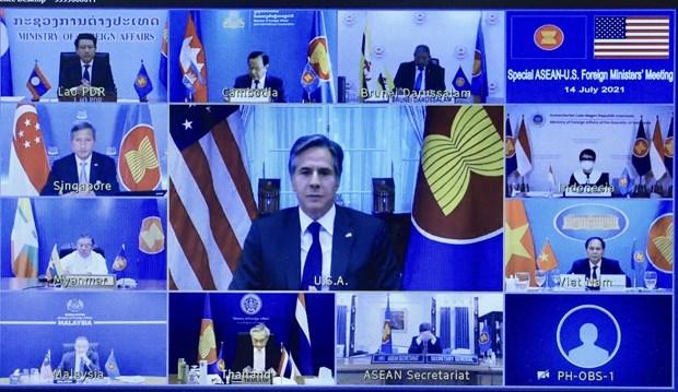 东盟与美国一致同意合作促进经济复苏和减少疫情带来的负面影响 hinh anh 1