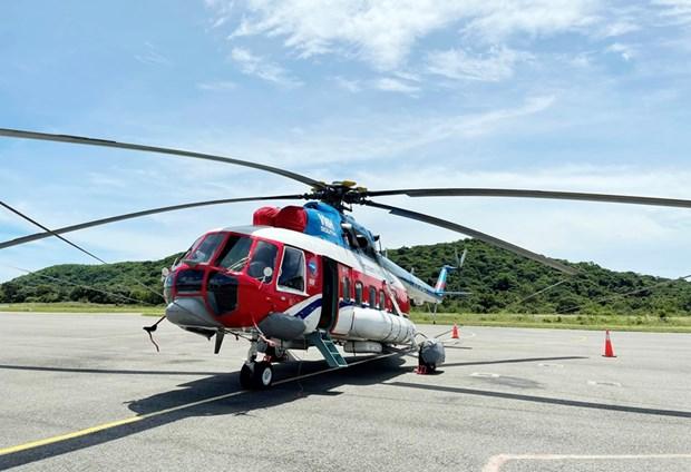 直升机空运新冠疫苗至昆岛县 hinh anh 1