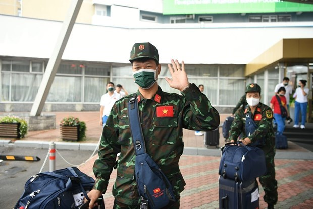 越南野战炊事和军医接力队前往乌兹别克斯坦参加2021年国际军事比赛 hinh anh 1
