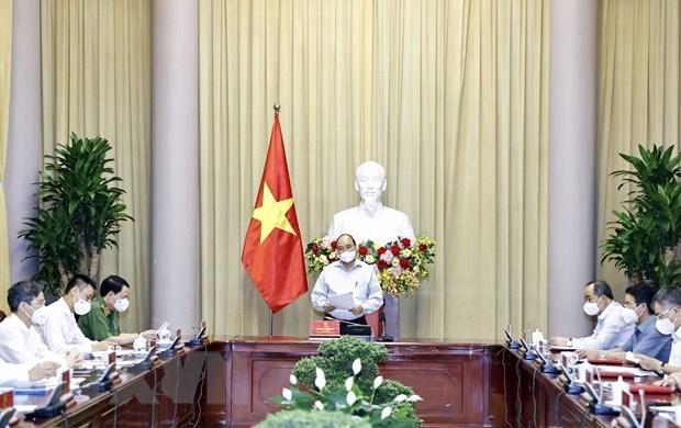 国家主席阮春福就2021年特赦的决定召开会议 hinh anh 1