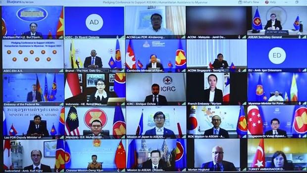 越南外长裴青山出席缅甸人道主义援助视频会议 hinh anh 2