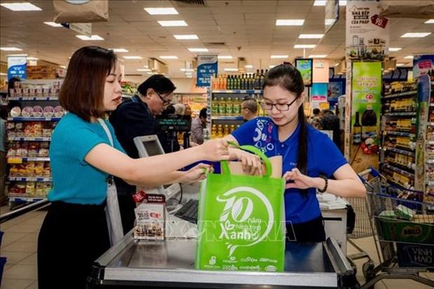 越南力争到2025年各购物中心和超市使用100%环保袋 hinh anh 1