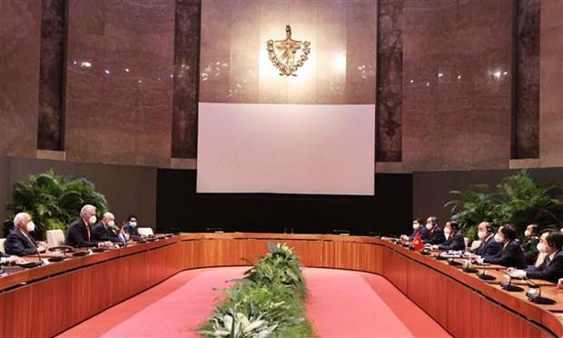 古巴国家主席主持仪式 欢迎阮春福主席对古巴进行正式访问 hinh anh 2