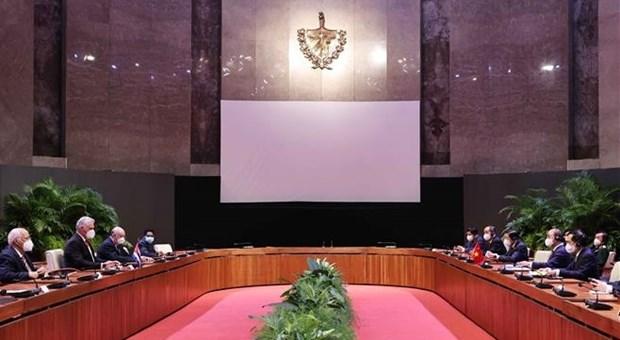 越南国家主席阮春福与古巴国家主席迪亚斯·卡内尔举行会谈 hinh anh 1