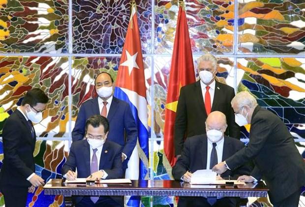 越南国家主席阮春福与古巴国家主席迪亚斯·卡内尔举行会谈 hinh anh 3