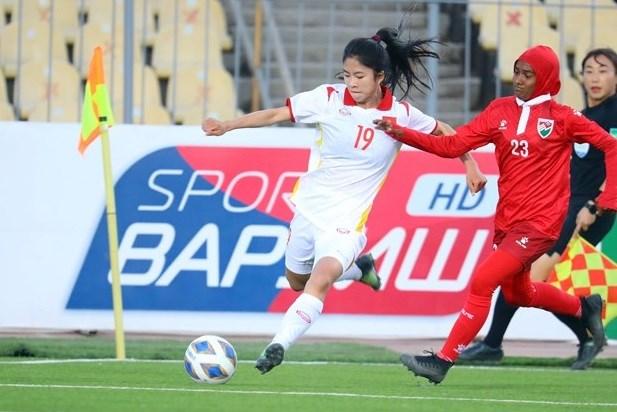 2022年女足亚洲杯预选赛:越南女足队以16-0战胜马尔代夫队 hinh anh 1