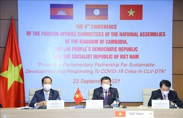 越老柬三国国会对外委员会发表联合声 明呼吁各国分享新冠疫苗 hinh anh 1