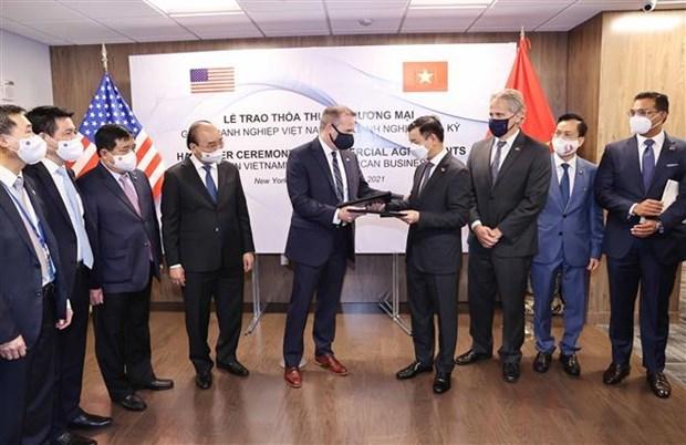 国家主席阮春福出席Vingroup集团与美国各合作伙伴之间的合作协议交换仪式 hinh anh 1