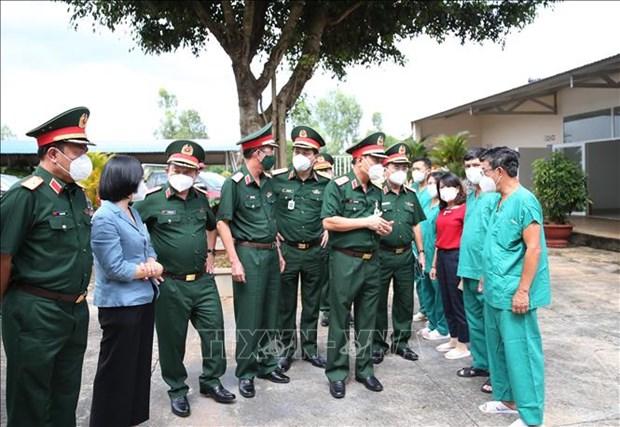 Trung tuong Ngo Minh Tien kiem tra cong tac phong, chong dich tai Gia Lai hinh anh 1