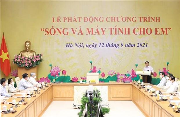 """Thu tuong Pham Minh Chinh phat dong Chuong trinh """"Song va may tinh cho em"""" hinh anh 4"""