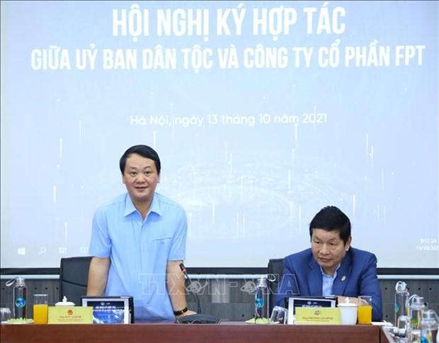 Uy ban Dan toc ky thoa thuan phoi hop thuc hien chuyen doi so gop phan ho tro dong bao dan toc hinh anh 2