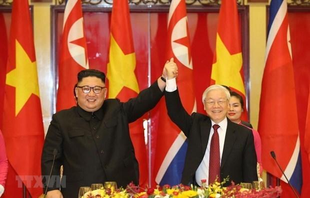 越共中央总书记、国家主席阮富仲向朝鲜劳动党总书记金正恩致贺电 hinh anh 1