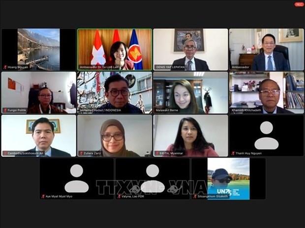 越南驻瑞士大使馆主持伯尔尼东盟委员会主席职务视频交接仪式 hinh anh 1