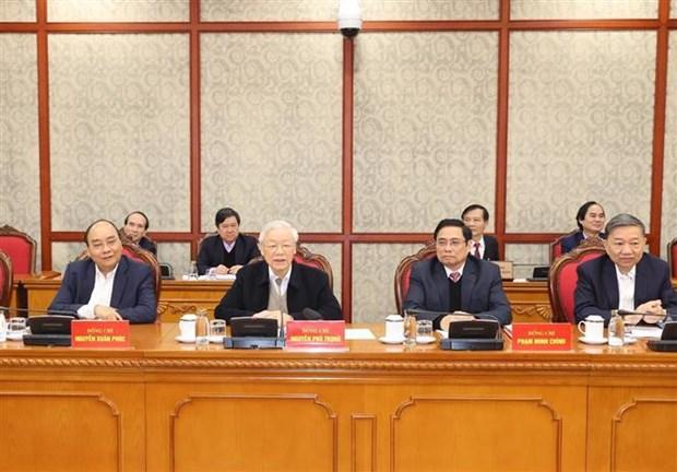 第十三届越共中央政治局召开第一次会议:聚焦国会代表选举和新冠疫苗购买接种工作 hinh anh 1