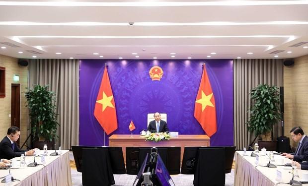 越老柬三国领导人举行视频会谈 hinh anh 1