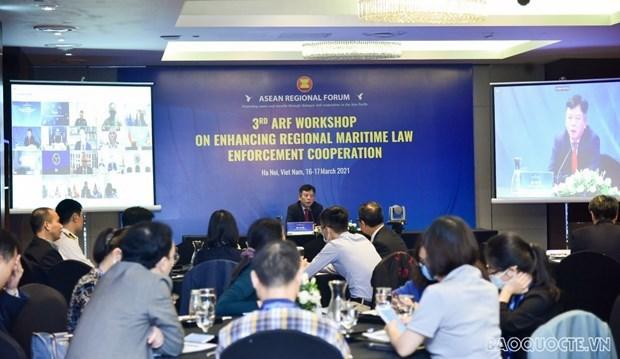 东盟地区论坛关于加强海上执法合作的第3次研讨会以线上线下形式举行 hinh anh 1