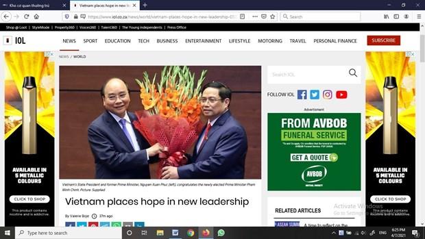 南非《比勒陀利亚新闻报》:越南人对新领导班子给予厚望 hinh anh 1