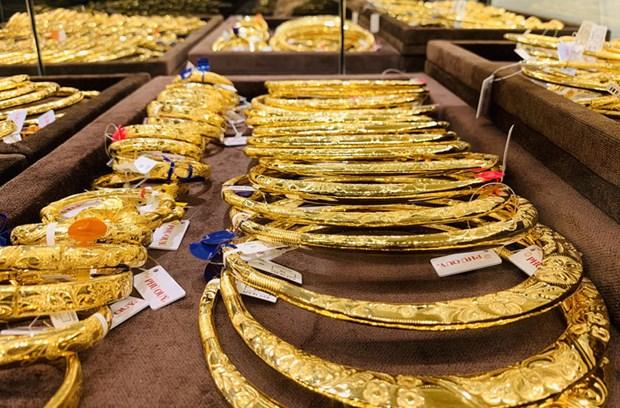 今日上午越南国内市场黄金价格每两在5600万越盾区间 hinh anh 1