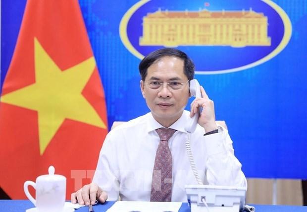 越南外长裴青山与新加坡外长维文通电话 hinh anh 1