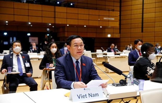 越南国会主席王廷惠出席第五次世界议长大会开幕式 hinh anh 1