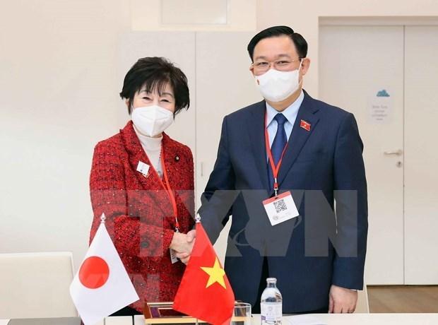 越南国会主席王廷惠会见日本参议院议长 hinh anh 1