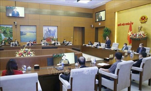 国会主席王廷惠会见科技应用领域典范企业领导 hinh anh 1