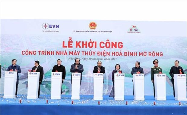 Thu tuong Chinh phu Nguyen Xuan Phuc phat lenh khoi cong Du an Nha may thuy dien Hoa Binh mo rong hinh anh 1