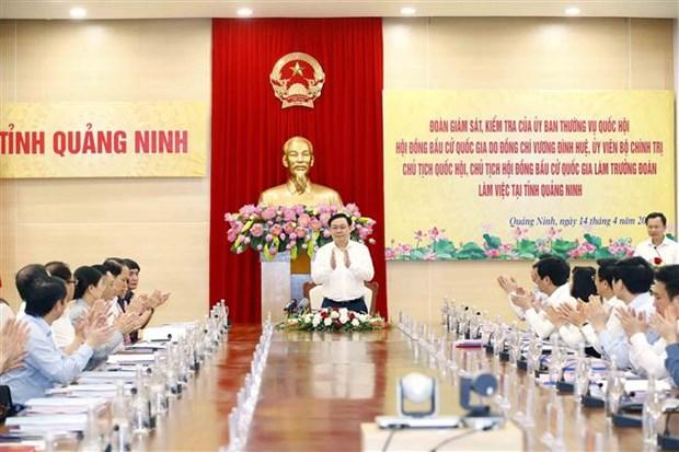 Chu tich Quoc hoi Vuong Dinh Hue kiem tra cong tac bau cu tai Quang Ninh hinh anh 2