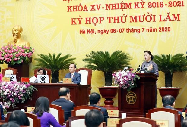 国会主席阮氏金银出席河内市第十五届人民议会第十五次会议 hinh anh 2