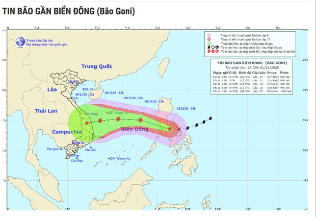 超强台风天鹅11月2日进入东海 进入越南内地时可继续影响越南中部地区 hinh anh 1