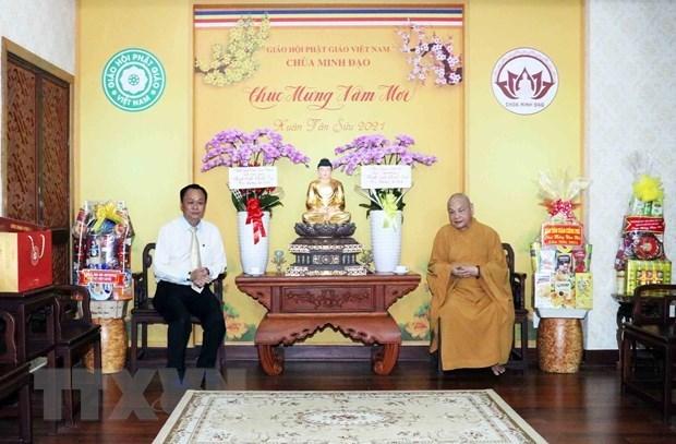 越南政府宗教委员会向越南佛教协会治事理事会送上新春祝福 hinh anh 1
