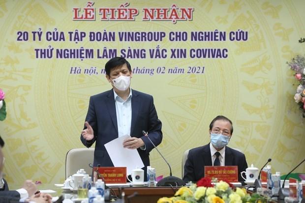 "Vingroup集团向""越南制造""的新冠疫苗COVIVAC临床试验研究工作提供200亿越盾资助 hinh anh 2"