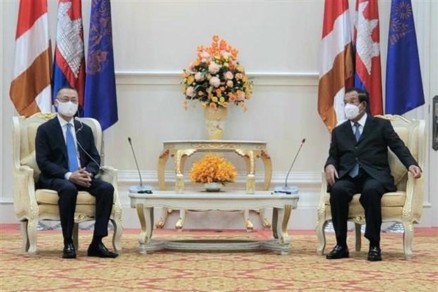 柬埔寨首相洪森会见越南驻柬大使武光明 hinh anh 1