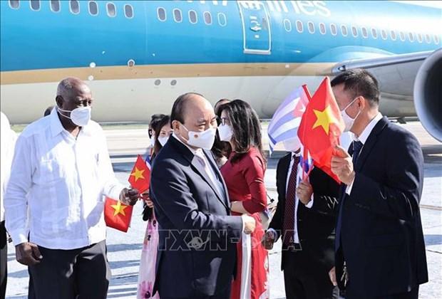 越南国家主席阮春福抵达哈瓦那 开始对古巴进行正式友好访问 hinh anh 1